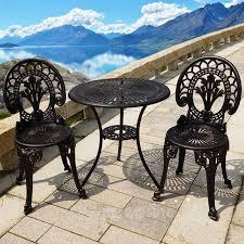 cast aluminum garden set table and 2