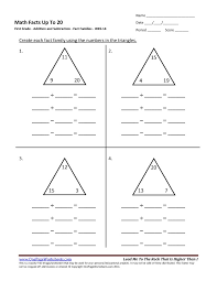 First Grade Addition Fact Families Worksheet 14 – One Page Worksheets