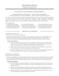 International Business Resume Objective 12 Sample Experience