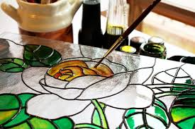 petal window glass brush color paint material stained glass circle painting art drawing rosa filling stained
