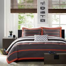 orange grey striped teen boy bedding twin xl full queen king comforter set