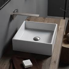 bathroom sink scarabeo 8031 no hole square white ceramic vessel sink