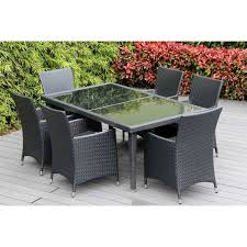 ohana furniture reviews lovely ohana outdoor patio 7 piece black wicker dining set with cushions of