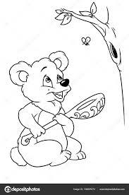 Ours Miel Coloriage Page Caricature Photographie Efengai