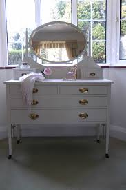 Painted Vintage Dressing Table With Oval Mirror/farrow And Ball's Slipper  Satin NO RESERVE