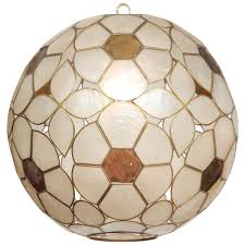 1960s capiz s fl globe light fixture 1