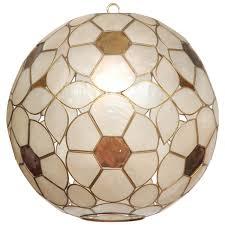 1960s capiz shell fl globe light fixture for