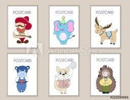 Postcards For Birthday Cute Hand Drawn Postcards Birthday Party Baby Shower Cards