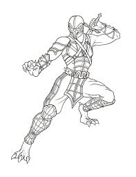 Scorpion Video Game Character Coloring Pages Print Coloring