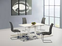 High Gloss Dining Table Space Ext White High Gloss Dining Table With 4 Enzo Chairs Grey