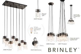 kichler 42877ni brushed nickel brinley 6 light 12 wide pendant with canning jar style shades lightingdirect com
