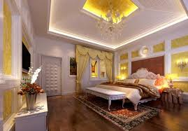 luxurious master bedroom interior with wooden tray ceiling lighting ideas