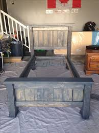 diy twin bed frame plans from anna white stained in minwax charcoal grey