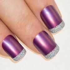 Nails by Bling Art Purple Silver French Manicure Fake Medium Tips ...