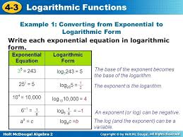 how to write log in exponential form math algebra logarithmic functions write equivalent forms math
