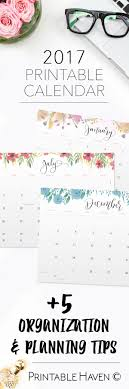 2017 printable wall desktop or binder calendars