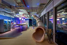surfing and beach theme meeting area of a google office in israel amazing office design