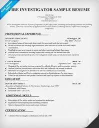 Sample Investigator Resume