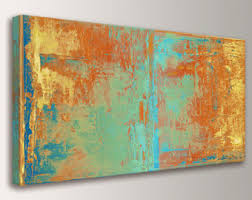 large wall art canvas print abstract wall art orange yellow teal and green abstract painting extra large oversized canvas art cabo  on extra large wall art teal with wall art canvas etsy