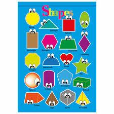 Shapes Educational Wall Charts Poster Kids Children Classroom Schools Nursery Ebay
