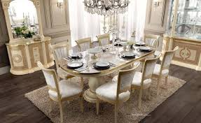 Buy Esf Aida Dining Table Set 7 Pcs In Gold Ivory Fabric Online