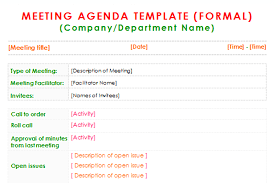 agenda of a meeting format formal meeting agenda template for word dotxes