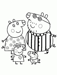 Peppa Pig And Her Family Wearing Pajamas Coloring Page Nick Jr