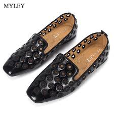 myley black pink breathable hollow out patent leather flats women boat shoes casual flat low heel brand shoes for women white shoes whole shoes from