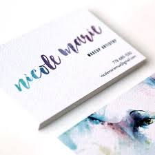 logo business card design for makeup artist using watercolor ilration and hand lettered styled