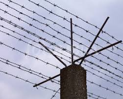 barbed wire fence concentration camp. Barbed Wire Fence At Concentration Camp. (Storm Clouds Forming Over Electrified Camp H
