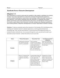 Standards Focus Character Development Chapters 1 3