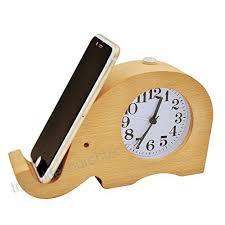 ecvision handmade classic small round silent table snooze beech wood alarm clock with nightlight elephant