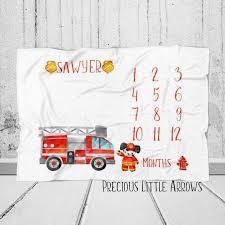 Firefighter Monthly Baby Blanket Fireman Growth Chart Blanket Boy Monthly Photo Blanket Firefighters Baby Gift Watch Me Grow Blanket