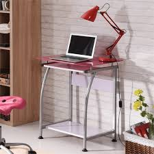 pemberly row tempered glass top laptop desk in pink