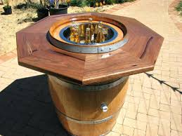 outdoor wine barrel table