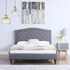 grey bed frame full. Beautiful Bed Amazoncom Divano Roma Furniture Classic Dark Grey BoxTufted Fabric Bed  Frame Full Kitchen U0026 Dining In Full I