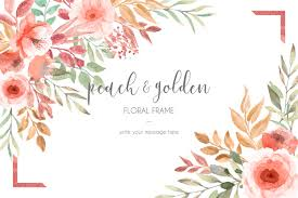 Photo Card Template Card Template With Peach And Golden Flowers And Leaves