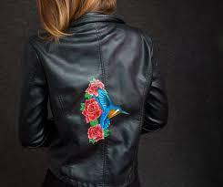 custom jacket hummingbird roses hand painted