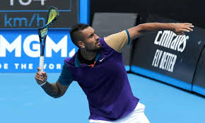 Kyrgios wins the point with a forehand winner. Nick Kyrgios Vents Frustration As He Exits Australian Open Warm Up Event Nick Kyrgios The Guardian