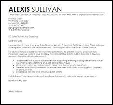 Line Trainer Cover Letter Sales Trainer Cover Letter Sample