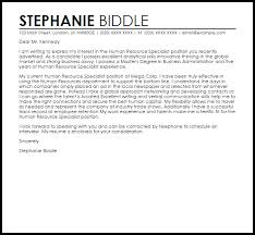 Sample Human Resources Cover Letters Human Resource Specialist Cover Letter Sample Cover Letter