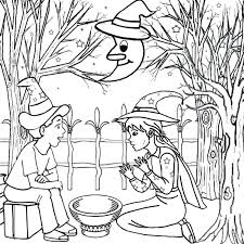 goodnight moon coloring pages witch worksheets for preschool over eerie woodland witch craft magic moon coloring