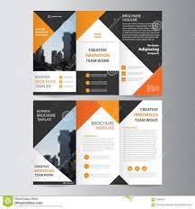 Abstract Orange Black Triangle Trifold Leaflet Brochure Flyer