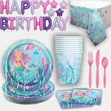 Mermaid Party Supplies for 16. Plates, Cups, Napkins, Tablecloth, Cutlery, Tablecloth
