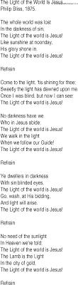 The Light Of The World Is Jesus Lyrics Hymn And Gospel Song Lyrics For The Light Of The World Is