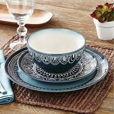 better homes and garden bath rugs new better homes and gardens teal medallion 12 piece dinnerware set