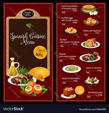 A La Carte Menu Template Lunch Menu Template For Spanish Cuisine