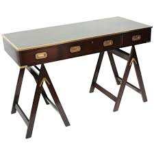 campaign style desk on sawhorse legs desirable leather top 1