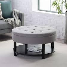 fabric storage ottoman coffee table collection ottoman belham living dalton coffee table round tufted storage