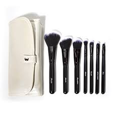 labeled makeup brushes set and travel case professional quality pared to mac brand powder
